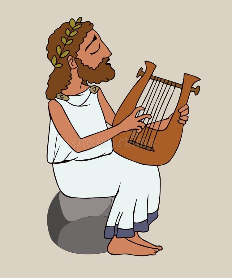 Uomo del greco antico del fumetto che gioca cithara royalty illustrazione gratis