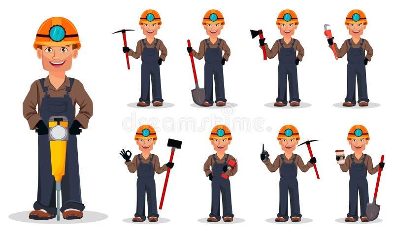 Uomo del minatore, minatore Personaggio dei cartoni animati illustrazione vettoriale
