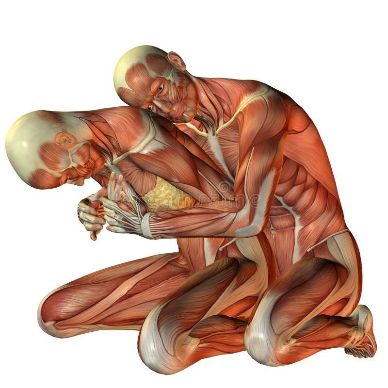 Uomo del muscolo che abbraccia donna da dietro royalty illustrazione gratis