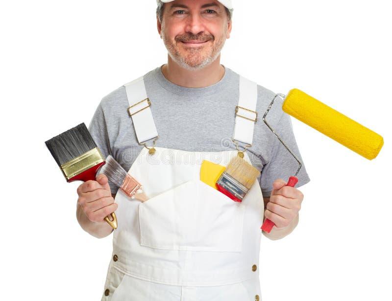 Uomo del pittore su fondo bianco immagini stock