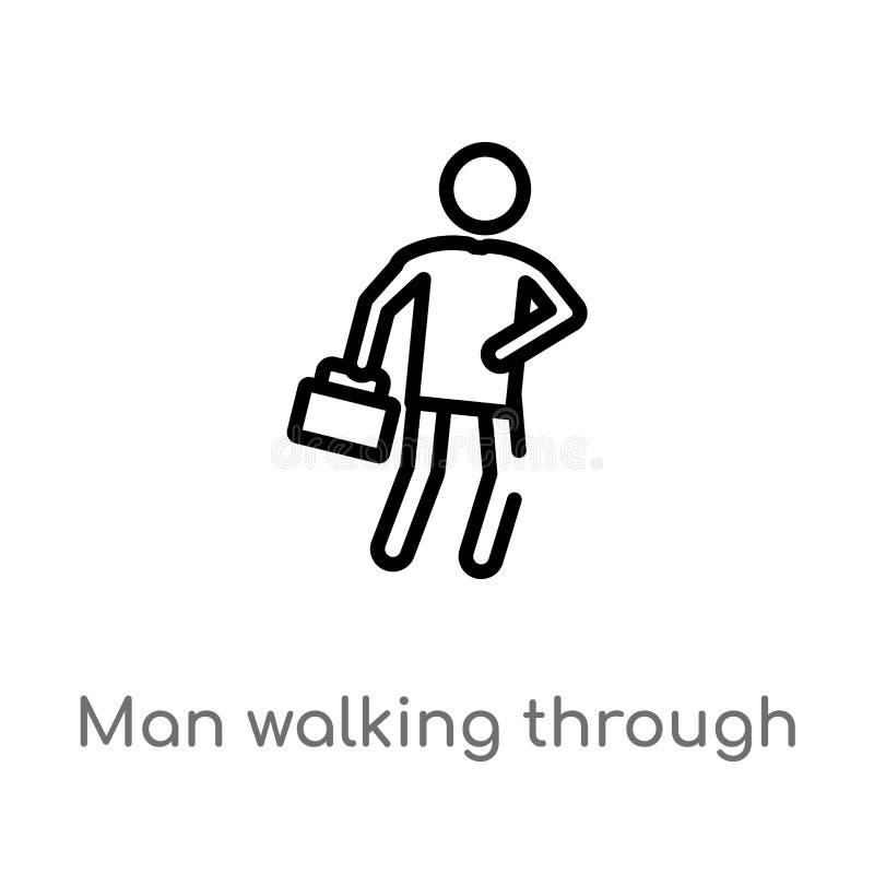 uomo del profilo che cammina attraverso l'icona di vettore del vento linea semplice nera isolata illustrazione dell'elemento dal  royalty illustrazione gratis