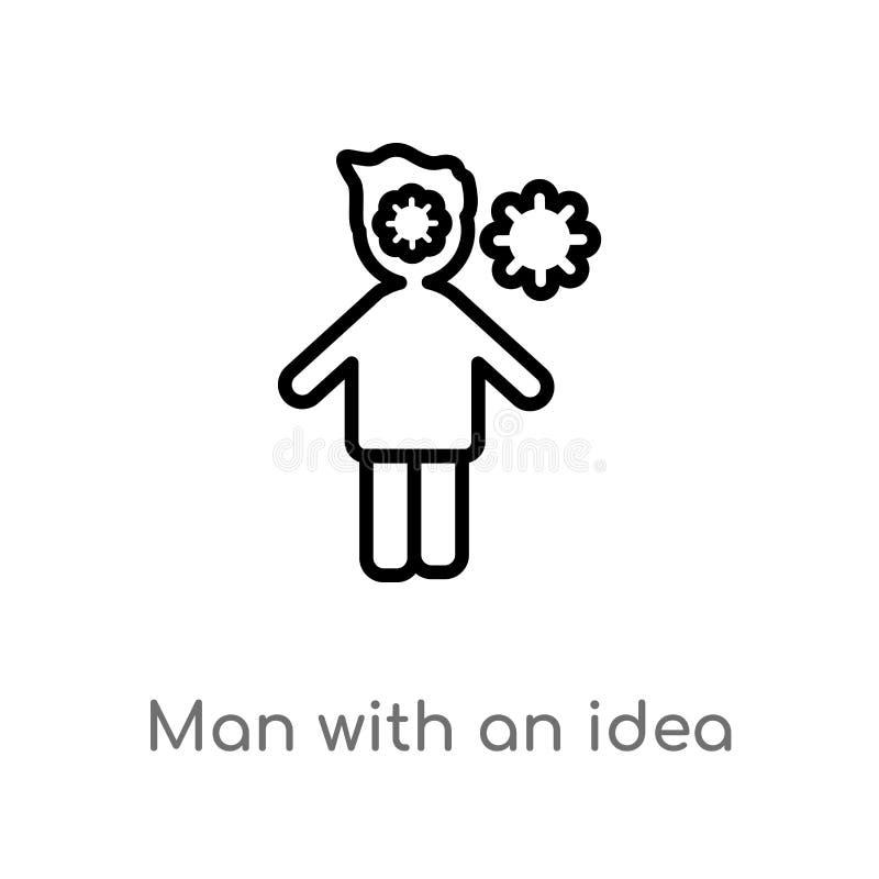 uomo del profilo con un'icona di vettore di idea linea semplice nera isolata illustrazione dell'elemento dal concetto della gente royalty illustrazione gratis
