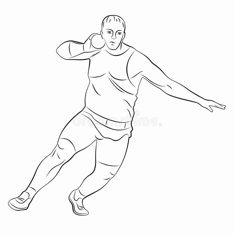 Uomo del putter di colpo della siluetta, disegno di vettore illustrazione di stock