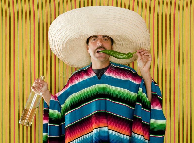 Uomo del sombrero di tequila potabile peperoncino rosso messicano dei baffi immagini stock
