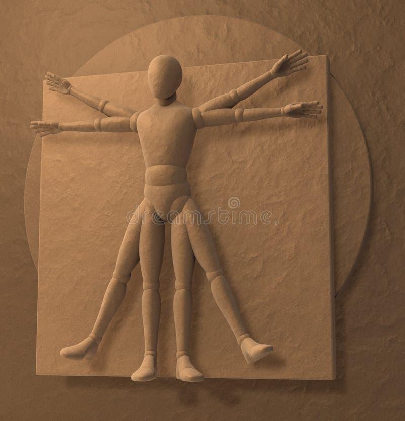 Uomo del Vitruvian di Leonardo da Vinci, omo Quadratus illustrazione vettoriale