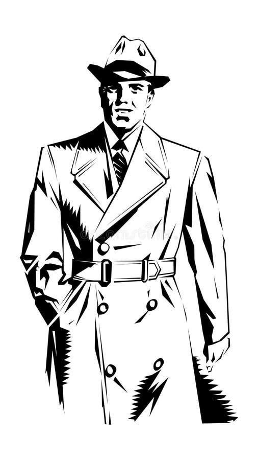 Uomo dell'agente investigativo illustrazione di stock