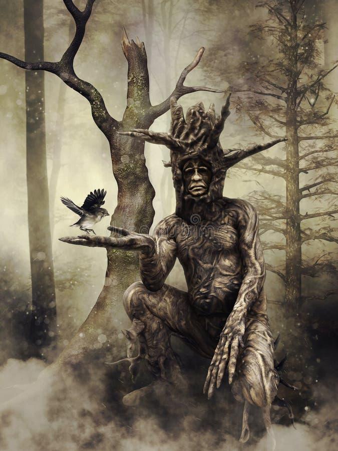 Uomo dell'albero che tiene un uccello illustrazione di stock