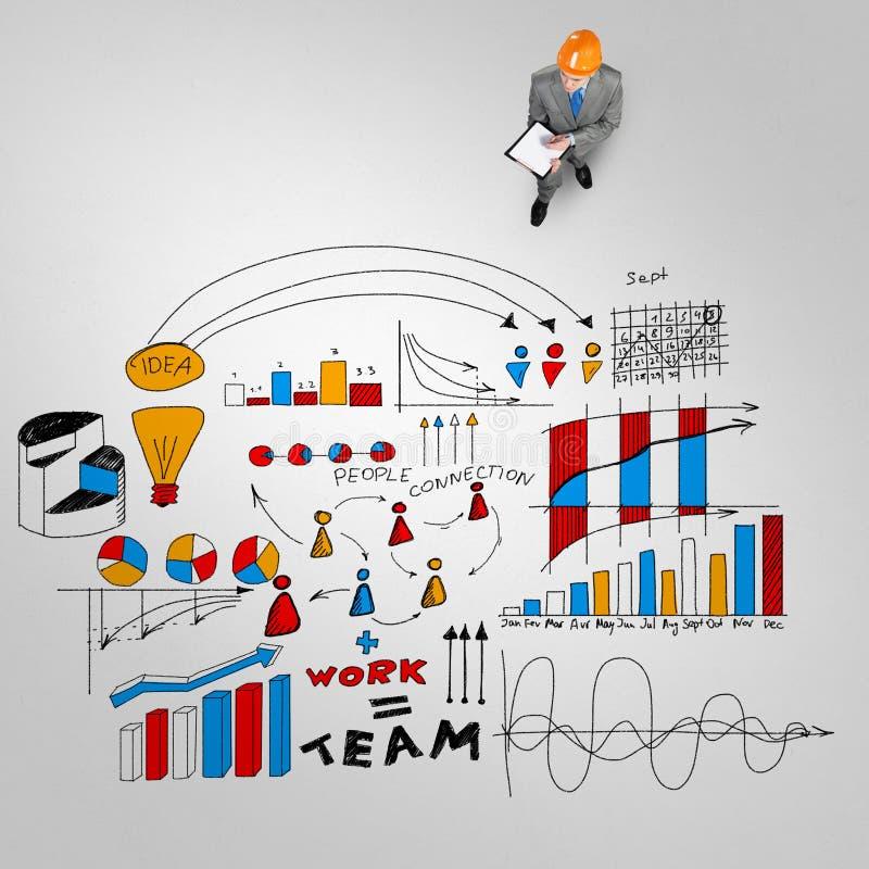 Uomo dell'ingegnere e la sua strategia aziendale illustrazione vettoriale