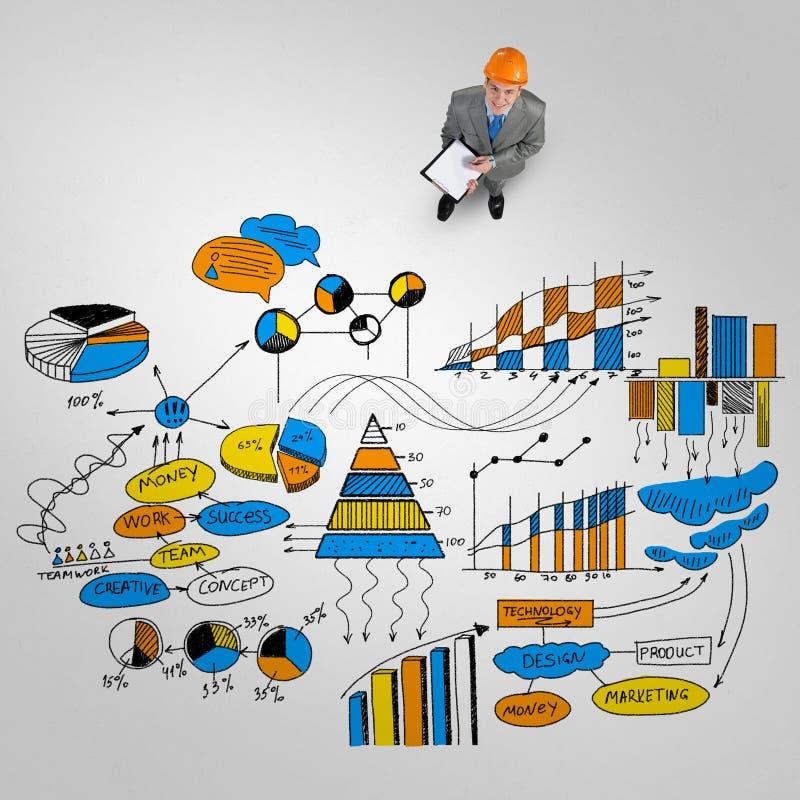Uomo dell'ingegnere e la sua strategia aziendale illustrazione di stock