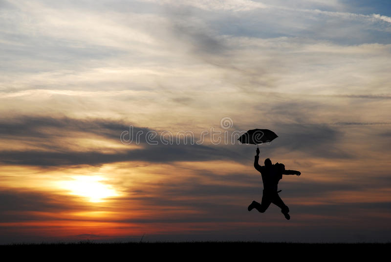 Uomo dell'ombrello fotografia stock libera da diritti