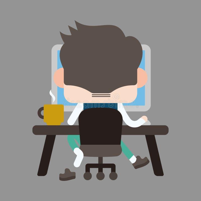 Uomo dell'ufficio del carattere che usando gli elementi di tema del computer fotografia stock