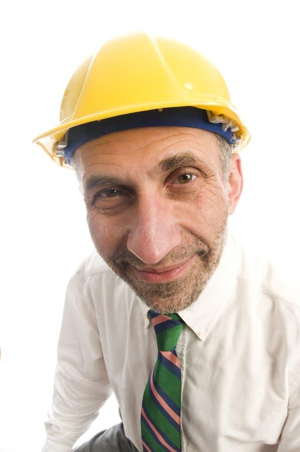 Uomo della costruzione dell'appaltatore con il cappello duro immagini stock libere da diritti
