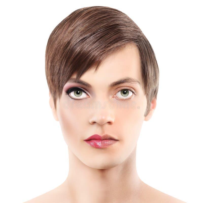 Uomo della mezza donna del ritratto mezzo, concetto di androginia immagine stock