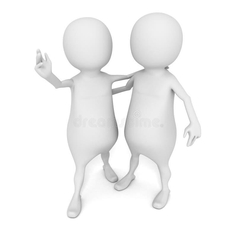 uomo della piccola persona 3d che abbraccia amico o partner illustrazione vettoriale