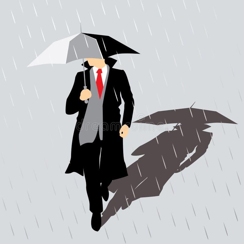 Uomo della pioggia con l'ombrello illustrazione di stock