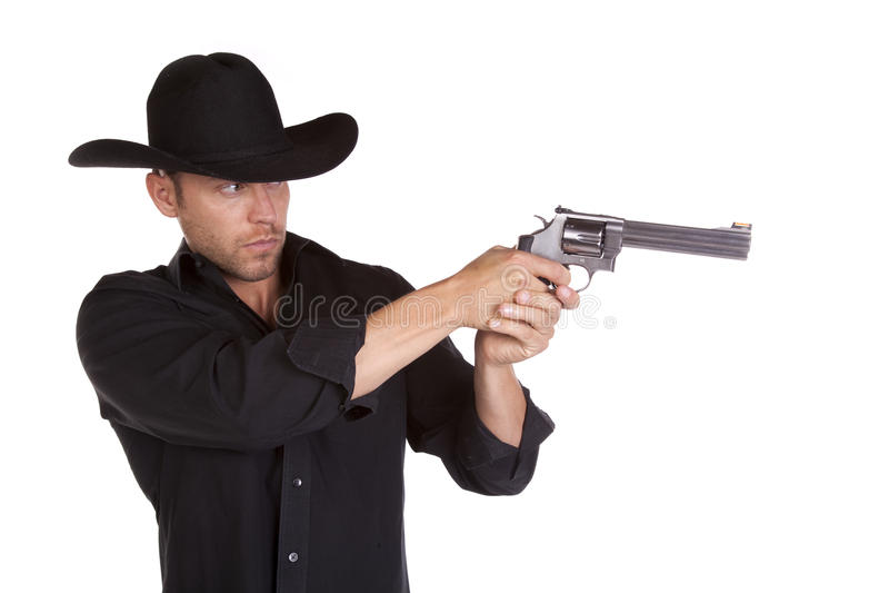 Uomo della pistola della holding immagini stock libere da diritti
