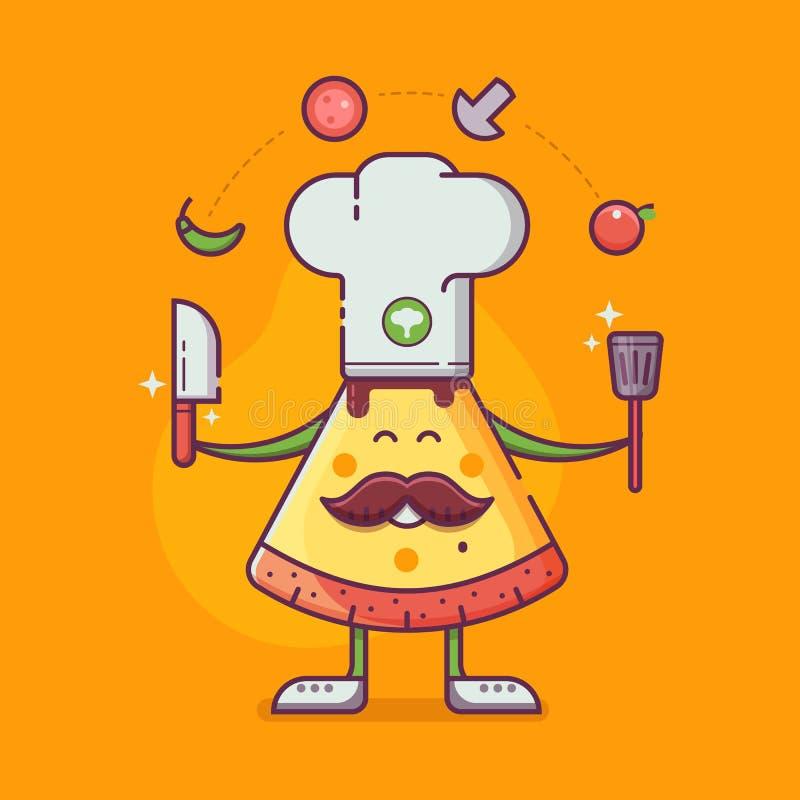 Uomo della pizza in cuoco unico Hat Cooking illustrazione di stock