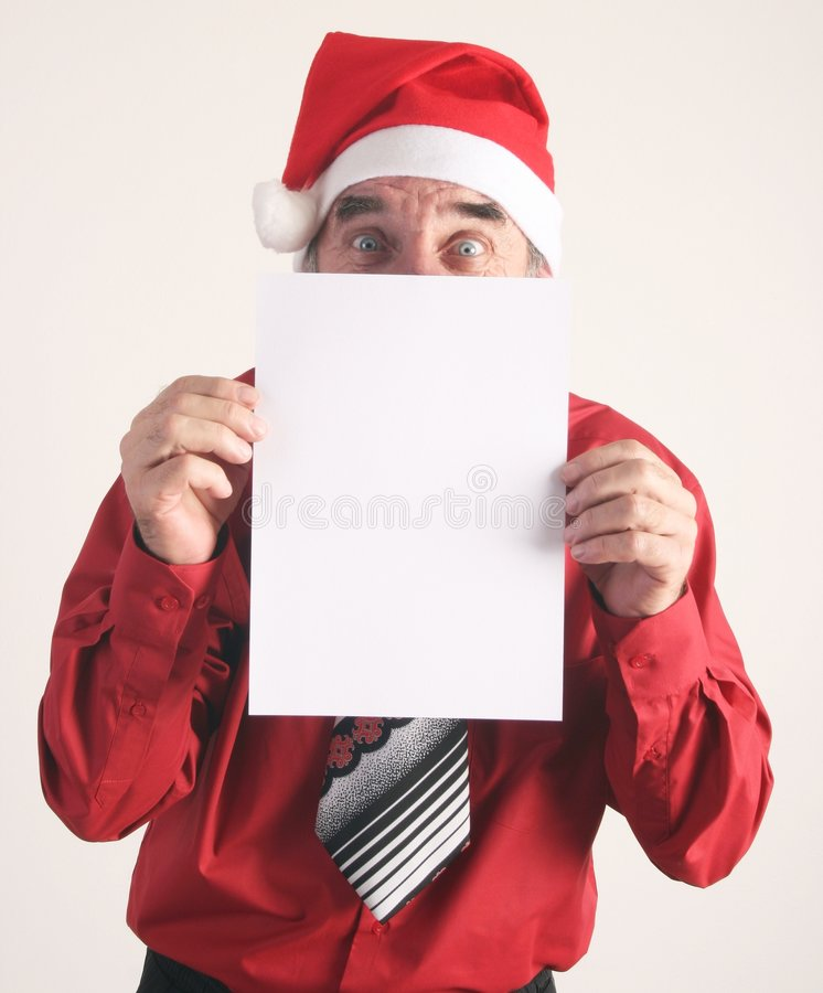 Uomo della Santa con il segno in bianco fotografia stock
