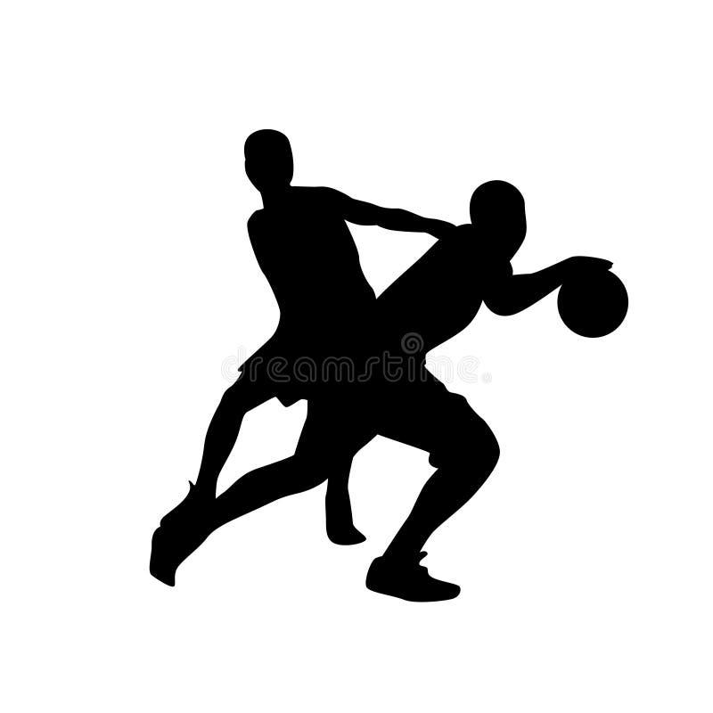 Uomo della siluetta del nero della competizione sportiva dello sportivo del giocatore di pallacanestro illustrazione vettoriale