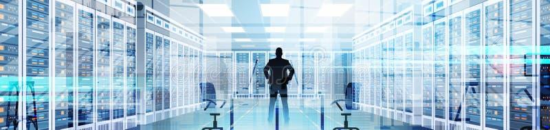 Uomo della siluetta nella stanza del centro dati che ospita la base di dati di informazioni del computer server illustrazione di stock
