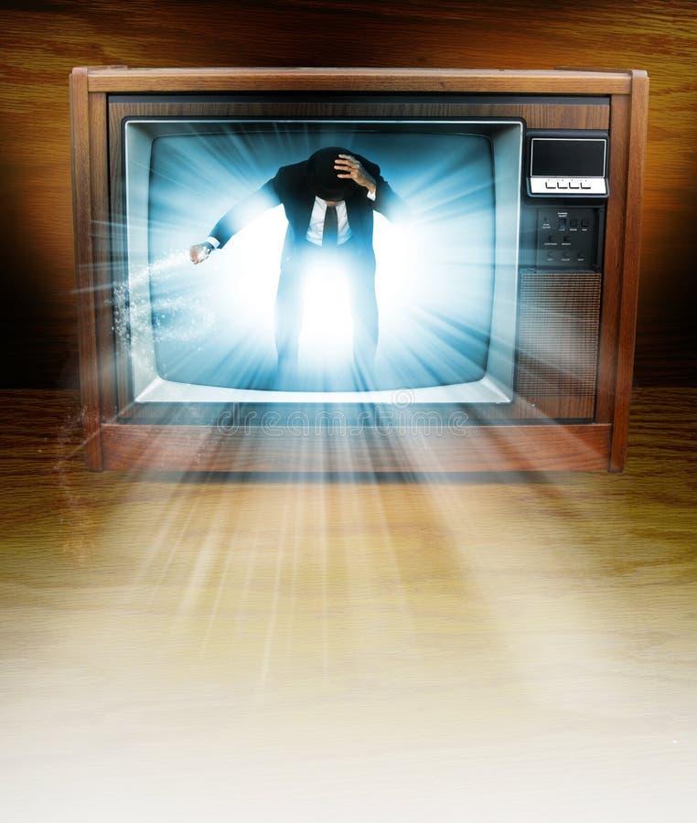 Uomo della televisione fotografia stock