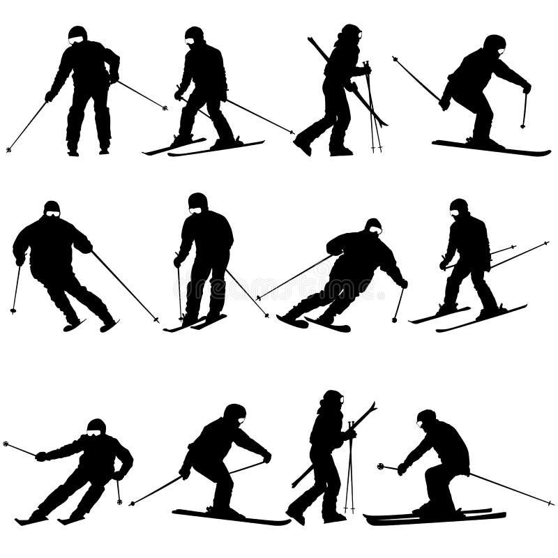 Uomo dello sciatore della montagna che accelera giù il pendio illustrazione vettoriale