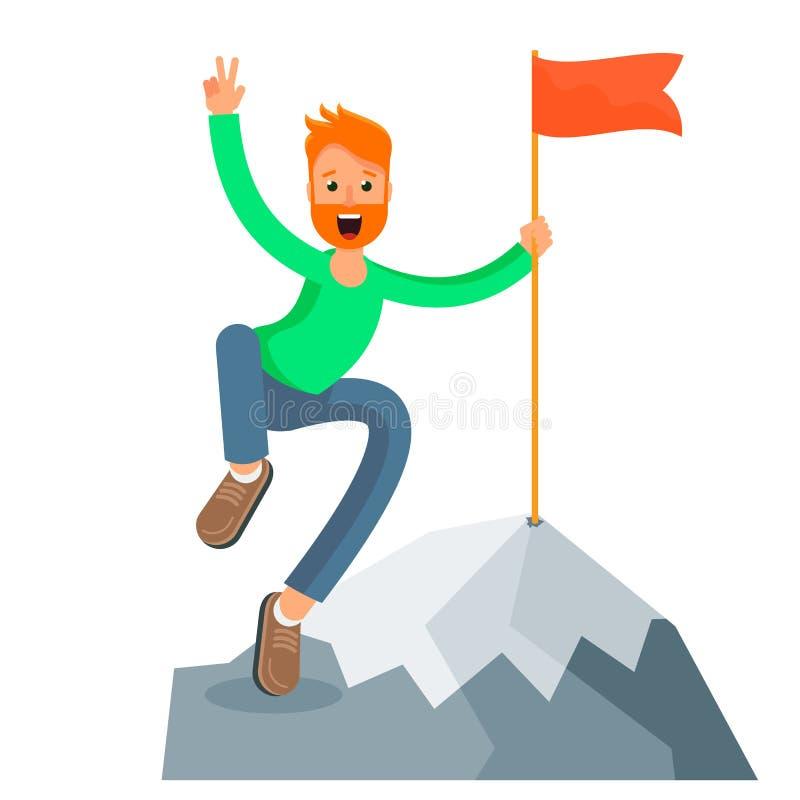 Uomo di ?heerful sulla cima di una montagna illustrazione di stock