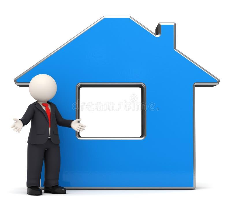 uomo di affari 3d - casa blu - domestico illustrazione di stock