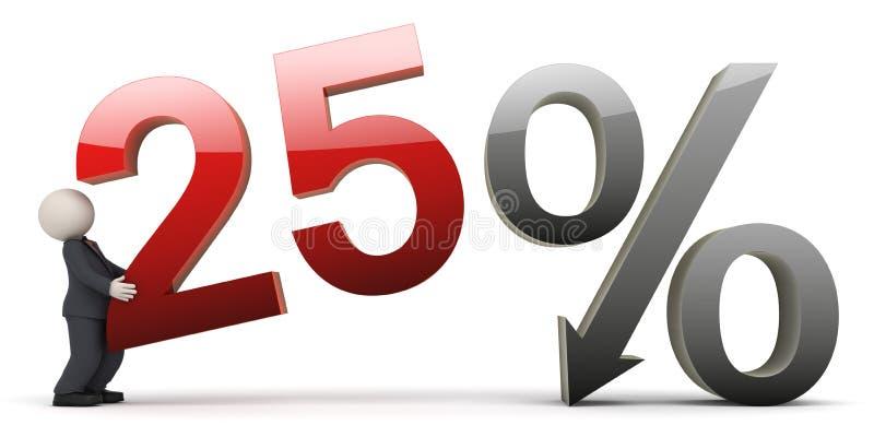 uomo di affari 3d con un segno di 25 per cento illustrazione di stock