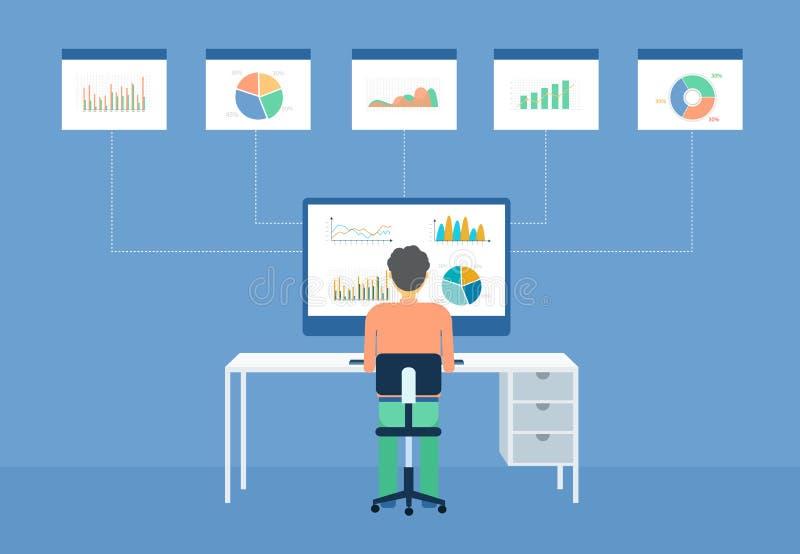 Uomo di affari analitico sul monitor del grafico royalty illustrazione gratis