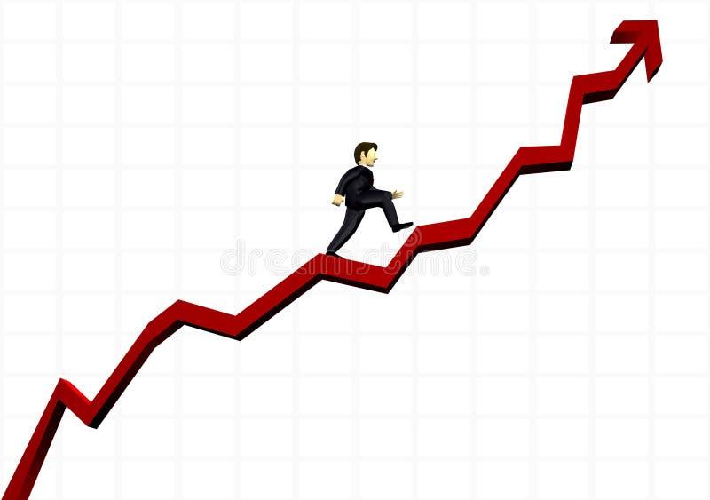 Uomo di affari che arrampica un grafico finanziario royalty illustrazione gratis