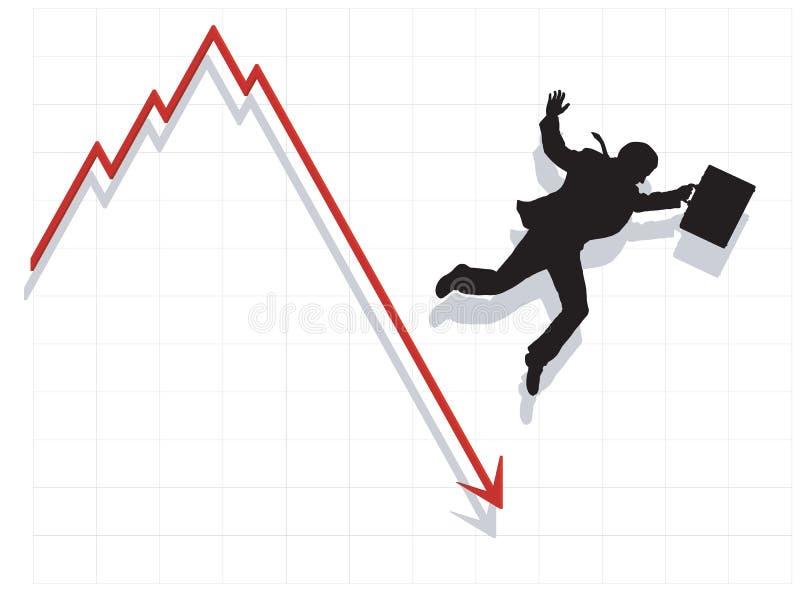 Uomo di affari che cade con l'economia illustrazione vettoriale
