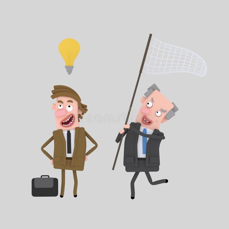 Uomo di affari che cerca una buona idea 3d royalty illustrazione gratis