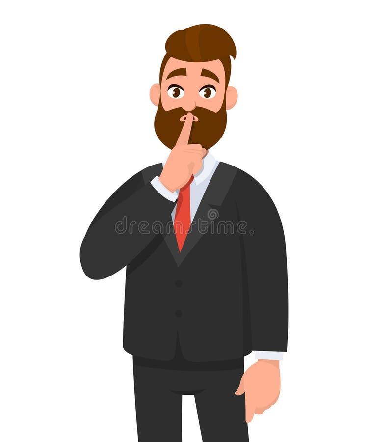 Uomo di affari che chiede per favore silenzio Taccia Uomo chiuso il suo bocca con il dito Chiuda su! illustrazione di stock