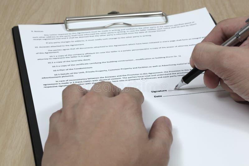 Firma del contratto immagini stock