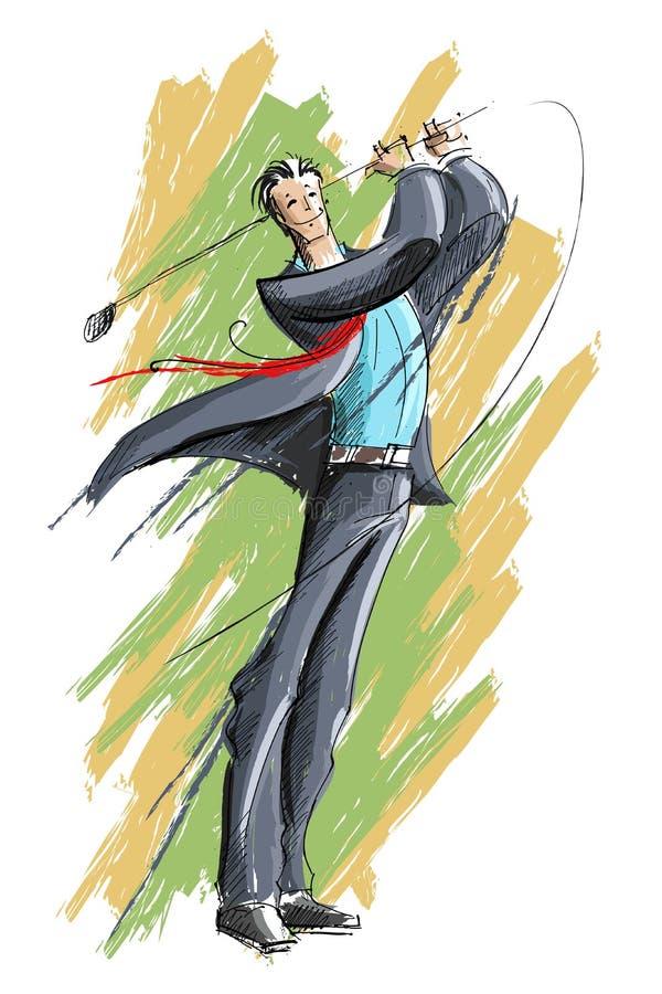 Uomo di affari che gioca golf royalty illustrazione gratis