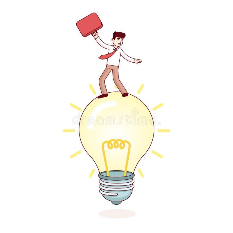 Uomo di affari che guida la lampada luminosa di idea royalty illustrazione gratis