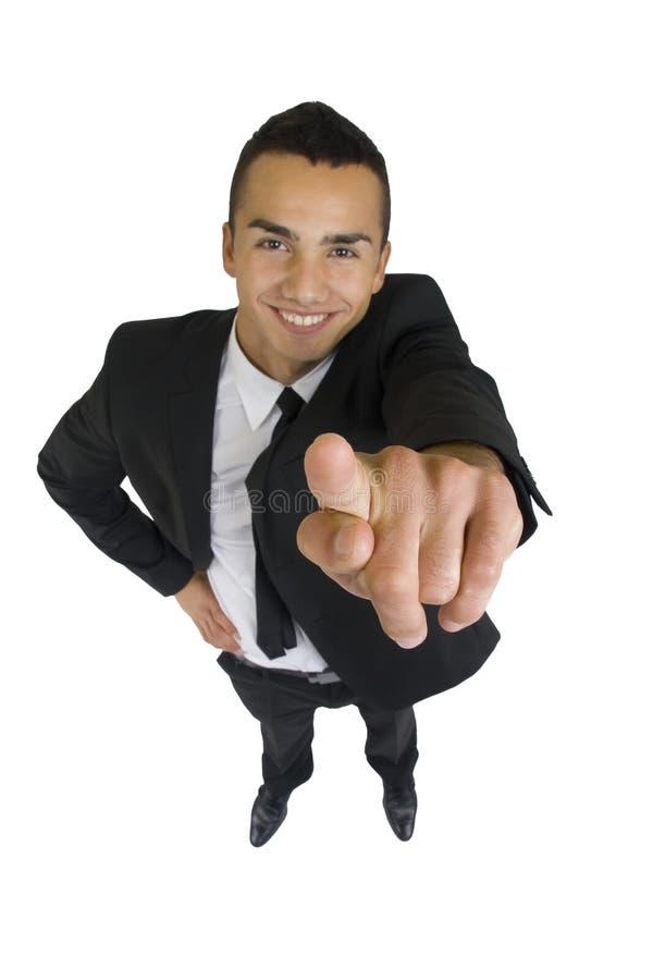 Uomo di affari che indica voi fotografia stock