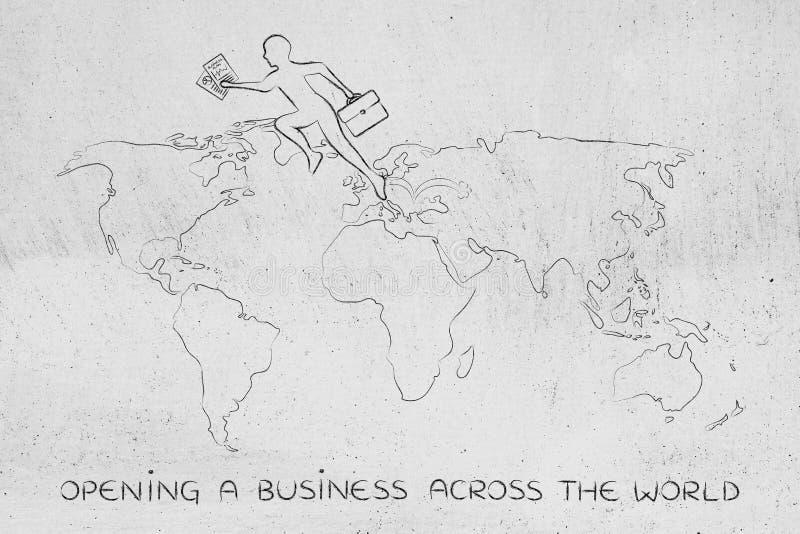 Uomo di affari che jumpying attraverso i continenti sulla mappa del mondo fotografia stock libera da diritti