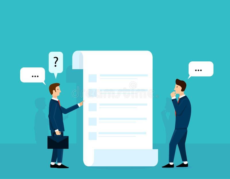 Uomo di affari che pensa al piano o alla lista di ordine e che parla con il mentore Compili una forma Concetto di progetto dell'i illustrazione vettoriale
