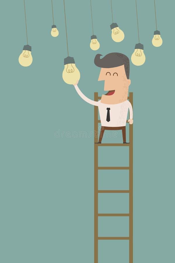 Uomo di affari che prende una lampadina illustrazione di stock