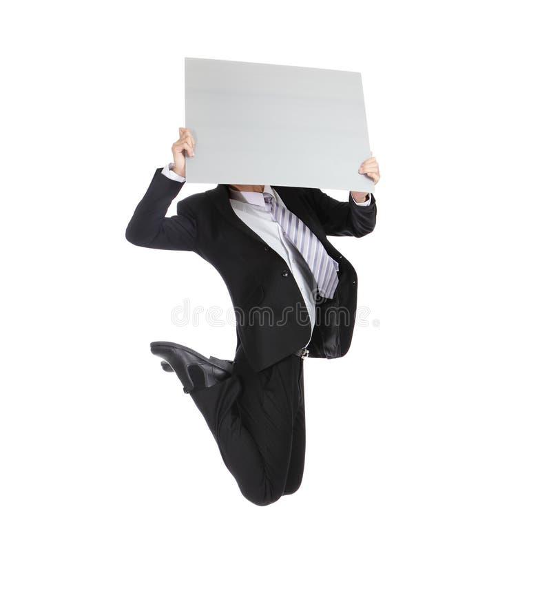 Download Uomo Di Affari Che Salta E Che Tiene Tabellone Per Le Affissioni Immagine Stock - Immagine di allegro, businessman: 30828981