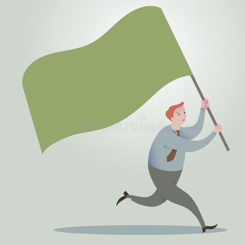 Uomo di affari che si dirige in avanti con le bandiere d'ondeggiamento illustrazione di stock