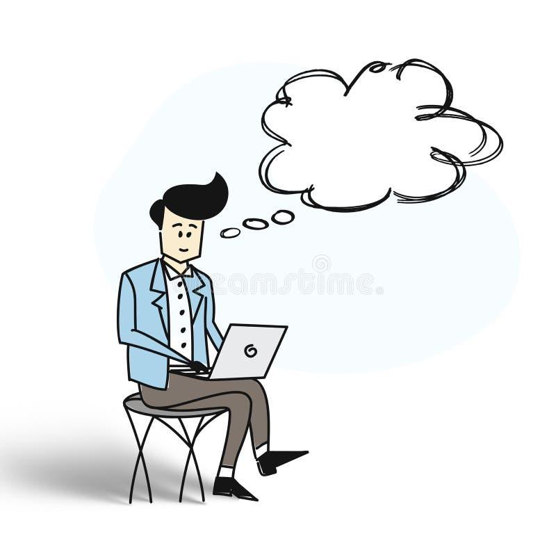 Uomo di affari che si siede nella sedia e che lavora al computer portatile con thinkin illustrazione vettoriale