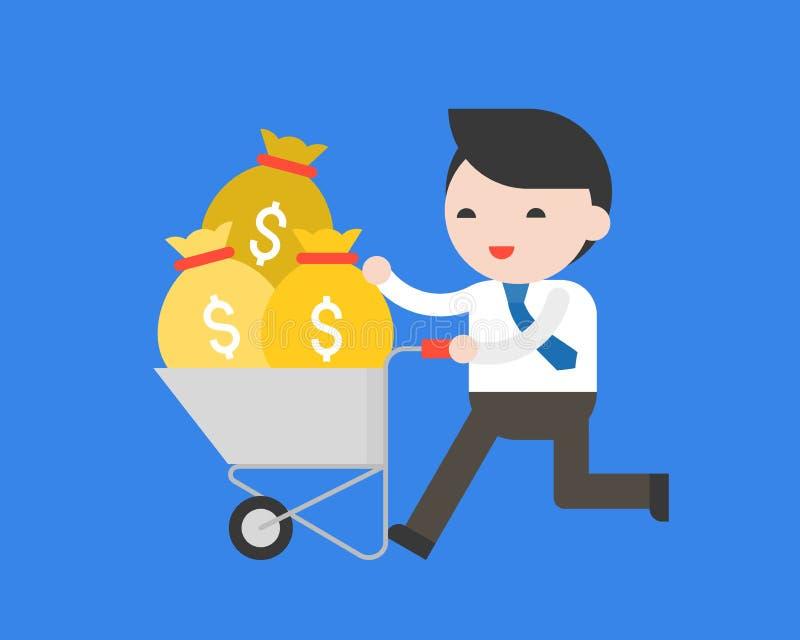 Uomo di affari che spinge il carretto del cemento in pieno di soldi, riuscito conce illustrazione vettoriale