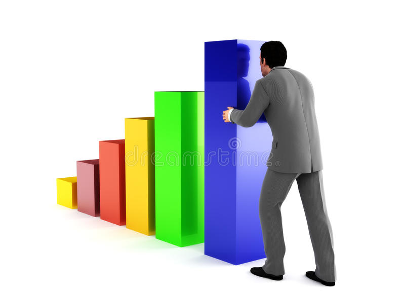 Uomo di affari che spinge un'più alta sezione di un grafico multicolore del grafico 3d. illustrazione di stock