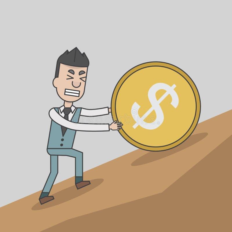 Uomo di affari che spinge una moneta enorme con il simbolo di dollaro in salita royalty illustrazione gratis