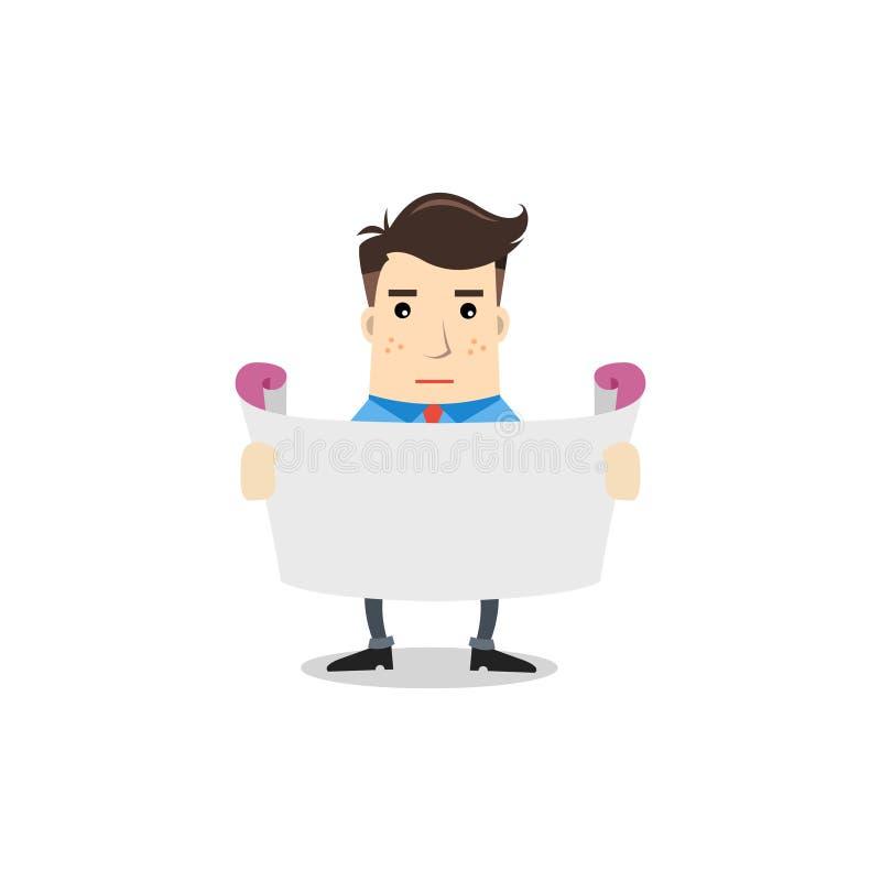 Uomo di affari con ampia carta illustrazione di stock