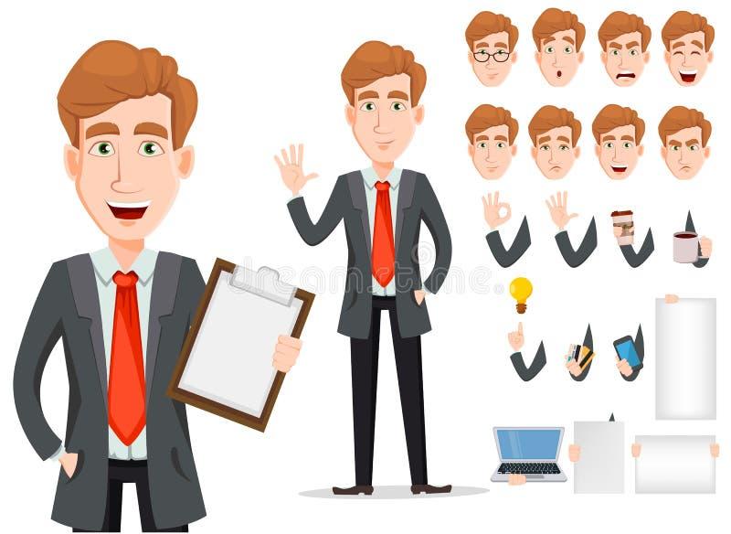 Uomo di affari con capelli biondi, insieme della creazione del personaggio dei cartoni animati illustrazione vettoriale