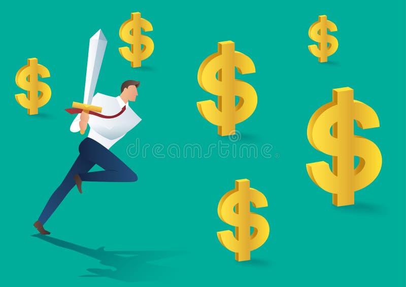 Uomo di affari con funzionamento della spada ed icona del dollaro, concetto di affari di riuscita illustrazione di vettore illustrazione vettoriale
